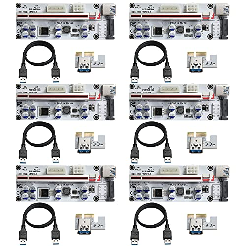 BEYIMEI PCI-E 1x a 16x Scheda Riser Potenziata-Cavo di Prolunga USB 3.0 da 60 cm, 3 opzioni di Alimentazione (6PIN   SATA   4 Pin) Scheda Riser Extender GPU-Ethereum Mining ETH-VER010-X (6 Pezzi)