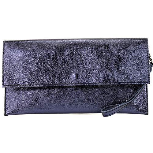 modamoda de - M106-151 - ital. Clutch Handgelenktasche Leder Metallic, Farbe:M151 Blauviolett Metallic