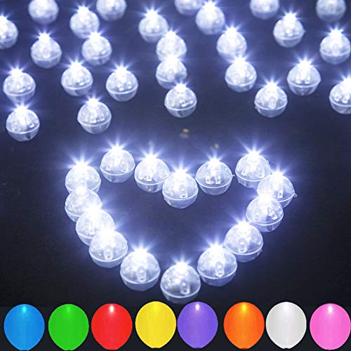 JJGoo 100pcs LED Balloon Light Mini Round Ball Lights, Waterproof Long Standby Time Lights for Balloon Paper Lantern Birthday Party Wedding Decoration