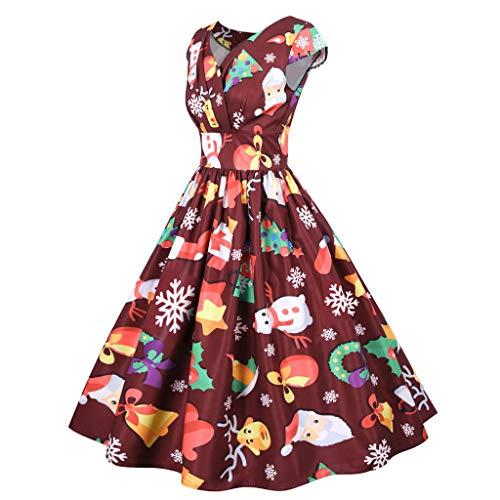Damen 50er Vintage Cocktailkleid Elegant Cap Sleeves Petticoat A Linie Knielang Partykleider Rockabilly Swing Kleider V-Ausschnitt Drucken...