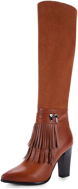 KingRover Women's Knee High Side Zipper Closure Chunky High Heel Tassels Dress PU Leather Boots Chocolate