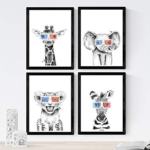 Nacnic Set de 4 láminas de Animales Infantiles con Gafas 3D,en tamaño A4, Poster Papel 250 gr Marco