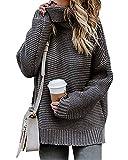 comefohome Mujer Jerseys Cuello de Tortuga Grueso Punto Suéter Otoño Invierno Oversize Blusas Abrigo Sudaderas Tops Gris XL