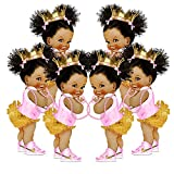 """Pink gold Ruffle Pants princess cutouts includes 6 paper die cuts. Made of 100 lb cardstock paper. Princess size 9"""" height, cutouts printed on a Single Side, 3 girls looking on the left and 3 girls looking on the right. These princess cutouts perfect..."""