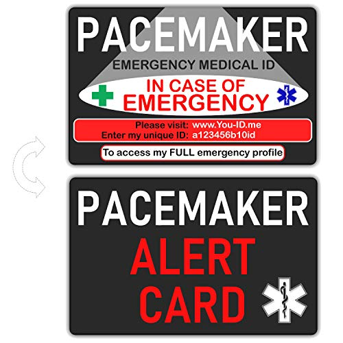 Pacemaker Alert Bracelet,Medical ID Card or Set.Arrhythmias Emergency Identity Band Fast Access to Meds Contact Numbers Blood Group NHS Number SMS Alert Capable.Pace Maker Fitted(PACEMAKER Card ONLY)