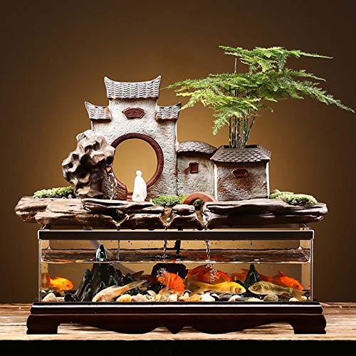 MYYYYI Rockery Fischbecken Wasser Aquarium Ornamente Acryl Keramik Wasserkreis Landschaftsgestaltung Desktop Fischschüsselschmuck Für Wohnzimmer Büro B