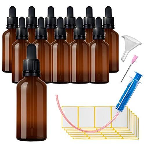 12x50ml Pipettenflasche Tropfflasche aus Braunglas Set - Dunkel kleine Glasgefäße als Apothekenflaschen Inklusive 28 Hilfszubehör