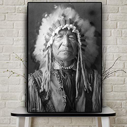 Indiaas zwart-wit olieverfschilderij op canvas poster en bedrukt frameloze muurschilderij van de Scandinavische woonkamer