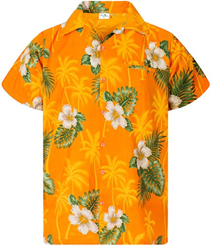 King Kameha Funky Camicia Hawaiana, Small Flower, Giallo, M