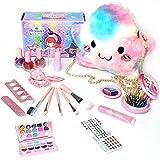 Horypt Kit de Maquillaje para niñas, Maquillaje para niñas y mi Primer Bolso para niños pequeños Regalos para niñas Que Incluyen Bolso de Princesa Rosa, lápiz Labial/Rubor