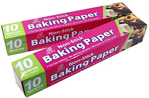 2 rollos de papel de pergamino para hornear, antiadherentes, de silicona, reciclables, para cocina, cocina, vapor, freidoras de aire, panadería, barbacoa, fiesta (10 m)
