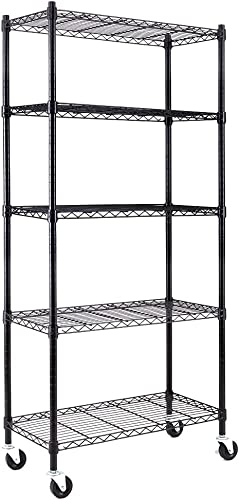 high quality EFINE 5-Shelf Shelving new arrival Units and Storage on 3'' Wheels, Adjustable Heavy Duty online Carbon Steel Wire Shelving Unit (30W x 14D x 63.7H) Black online sale