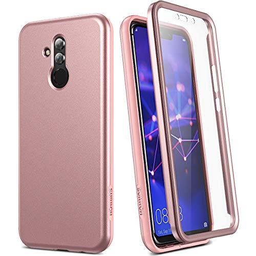 SURITCH Kompatibel mit Huawei Mate 20 Lite Hülle 360 Grad mit Displayschutz Komplettschutz Handyhülle SchutzhülleStoßfest Robuste Bumper Silikon Hülle für Huawei Mate 20 Lite 6.6 Zoll Rose Gold