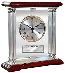 Personalized Engraved Clock European Inspired Rosewood Mantle Designer Clock Award Retirement Gift, Wedding Gift Anniversary Present Employee Recognition Service Award Birthday
