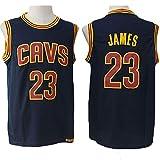 Camiseta de Baloncesto de los Hombres de Cleveland Cavaliers # 23 Lebron James Transpirable de Secado rápido sin Mangas del Chaleco Top Sport,Negro,XL(185cm/85~95kg)