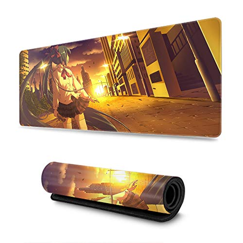 Extended Gaming Mouse Pad Thick Large (29.5×15.7 Inch), Gamer Mouse Pad Hatsune Japanese Anime Girl, with Stitched Edges Waterproof