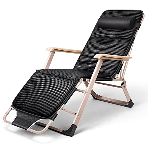 JCOCO Les deux côtés tube -Teslin + 4D coton pliante chaise longue/pliage feuilles personnes déjeuner pause bureau lit/été siesta chaise/paresseux chaise coussin/chaise de maternité/chaise d