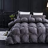 Three Geese Pinch Pleat Goose Down Comforter Queen Size Duvet Insert ,750+ Fill Power,1200TC 100% Cotton Fabric,Premium Grey Comforter for All Seasons with 8 Tabs