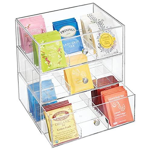 mDesign Organizador de cocina con 3 cajones de plástico – Mini cajonera para infusiones, bolsas...