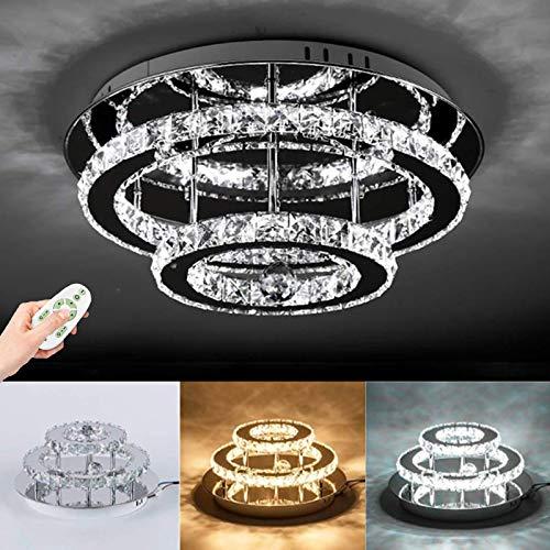 Kristall Deckenleuchte LED Deckenlampe Kronleuchter 30W Dimmbar Fernbedienung Moderne Edelstahl Decke Lichter Beleuchtung Flur Balkon Schlafzimmer Wohnzimmer Restaurant Pendelleuchte Hängelampe