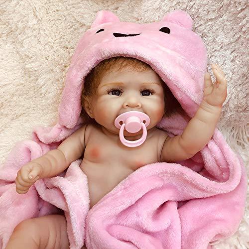 DXFK.AM 20inch Wiedergeboren Baby Puppe Das Sieht echt aus, Sanft Vollsilikon Waschbar Gewichtet Body Dolls Handgemacht Lebensecht Realistisch Neugeborene Echt Baby Puppen - Mädchen,B