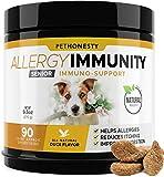 Senior Allergy Relief Immunity Supplement for Dogs - Omega 3 Salmon Fish Oil, Colostrum, Digestive Prebiotics & Probiotics - for Seasonal Allergies + Anti Itch, Skin Hot Spots Soft Chews (Duck)