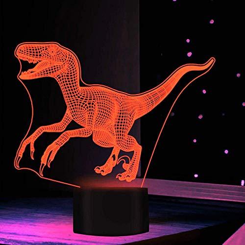 3D Dinosauro LED Illusione Ottica Lampade Luce Notturna 7 Colori Touch Art Scultura Luci con Cavi USB Camera Da Letto Scrivania Lampada Decorazione Tavolo per Bambini Adulti