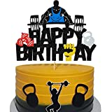 Glitter Weight Lifting Cake Topper, Gym Happy Birthday Cake Topper for Kids or Adults Fitness Lover's Party, Fitness Cake Decor for Athlete Body Builder Cross Fit Sports Theme Birthday Party Decor - Double Sided (6.7'' X 5'')
