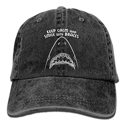 Hoswee Baseballmütze Hüte Kappe Keep Calm and Smile with Braces Unisex Truck Baseball Cap Adjustable Hat Military Caps