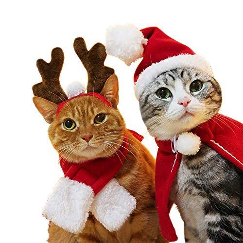 Babitotto - Set di 4 mantelli natalizi per cani e gatti, sciarpa, mantello e cerchietto per feste di Natale, invernali, vestiti da capodanno, vestiti (cappello + sciarpa + mantello + cervo