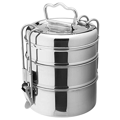 Utopia F91133 Poêles/Seaux et casseroles en acier inoxydable, Présentation, 3 étages Tiffin Box, 10,8 cm, 11 cm, H : 19,1 cm, 19 cm (lot de 6)
