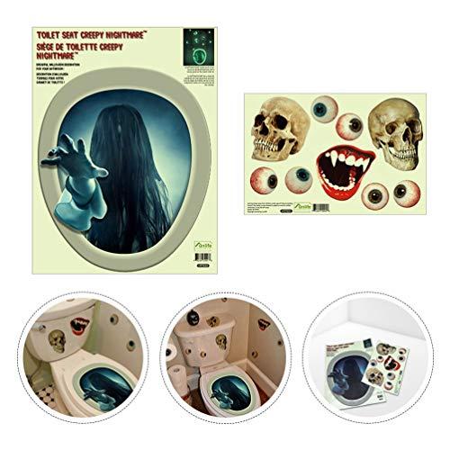 BESPORTBLE Halloween Toilettensitz Aufkleber 3D Leuchtend Beängstigend WC Deckel Aufkleber - Sadako Wandtattoo für Toilette Halloween Badezimmer DIY Wohnkultur