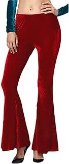 Womens Solid Elastic Waist Trousers Velvet Bell Bottom Pant