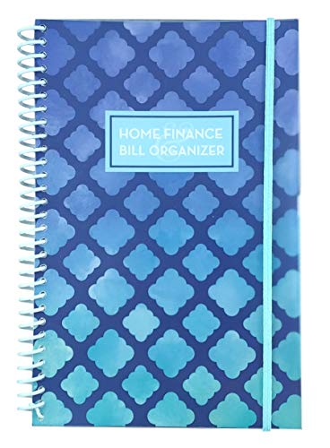 Home Finance & Bill Organizer with Pockets (Blue Watercolor Arabesque)