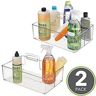 mDesign Kitchen Pantry Cabinet, Under Sink Storage Caddy Bin with Handle – BPA Free - 2 Section Tote for Organizing Dish Soap, Sponges, Dish Towels, Cleaning Supplies – Pack of 2, Clear