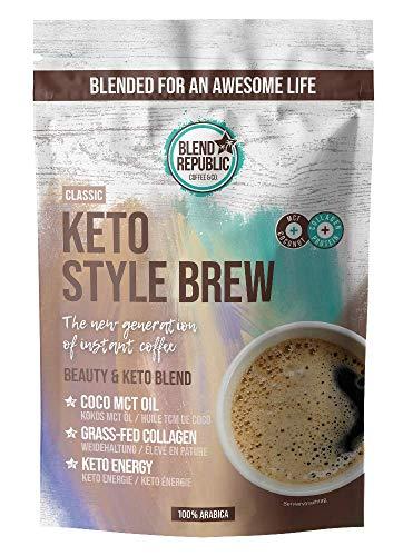 Keto Style Brew (Classic) - Keto Coffee mit ⍟ Arabica - Kokosöl - MCT-Öl - Collagen ⍟ Kollagenpeptide - Keto Kaffee für Low Carb Diät - 220g für 22 Tassen