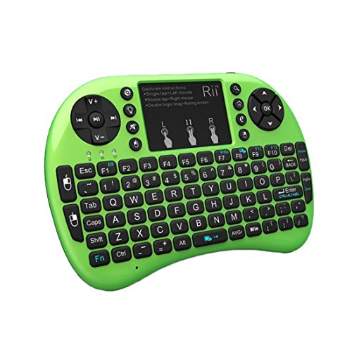 Rii 2.4GHz Mini Wireless Keyboard with Touchpad?QWERTY Keyboard,LED Backlit,Portable Keyboard Wireless for laptop/PC/Tablets/Windows/Mac/TV/Xbox/PS3/Raspberry Pi .(i8+ Green)