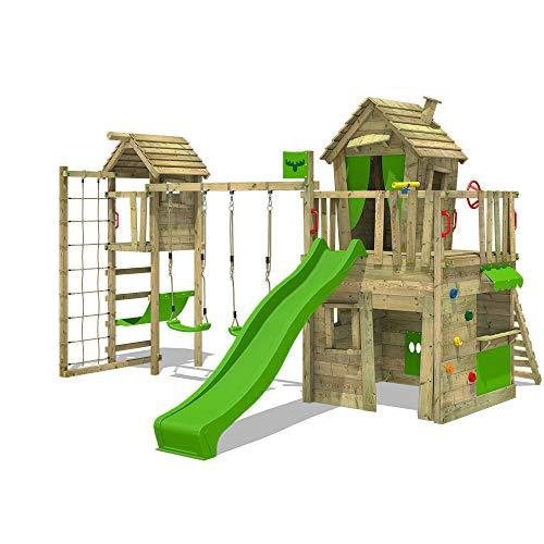 FATMOOSE Parque infantil de madera CrazyCat con columpio TowerSwing y tobogán manzana verde Casa de juegos de jardín con escalera para niños
