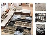 Alfombra de Salón Frise Pelo Largo Tupido Rectangulos Geometricos Modernos Color (Beige, 184_x_260 CM)