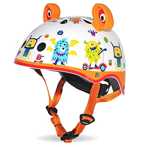 Micro Children's Deluxe 3D Monsters Print Helmet Small 48-54Cm High Spec Girls Boys Unisex Scooting Bike Safety