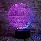Lámpara Figura Estrella De La Muerte Color Mezclado Luz Nocturna 3D Led Lámpara Usb Chirstmas Boy Regalo Dibujos Animados Kid Toys Touch