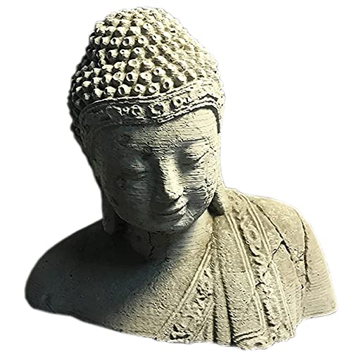 ZXCVB Garten-Fisch-Tank Buddha-Kopf, im Freien meditierende Buddha-Hauptstatuen, chinesische Feng Shui Buddha Figuren für Gartengarten-Terrasse