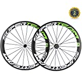 Superteam 50mm/23mm Wheelset 700c Clincher Road Bicycle Carbon Wheel (White and Green Decal)