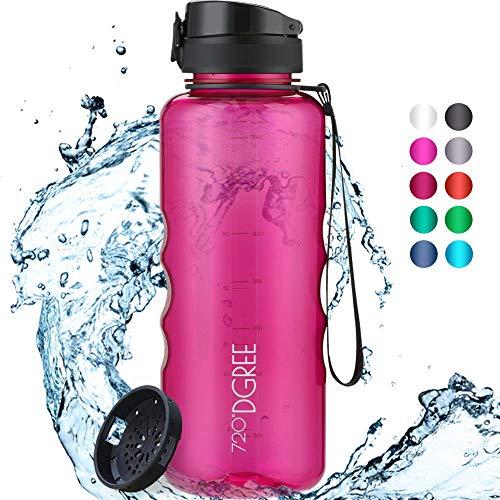"""720°DGREE Trinkflasche """"uberBottle"""" crystalClear +Sieb - 1,5l - BPA-Frei - Wasserflasche für Sport, Gym, Fitness, Outdoor, Wandern - Große Sportflasche aus Tritan - Leicht, Bruchsicher, Nachhaltig"""