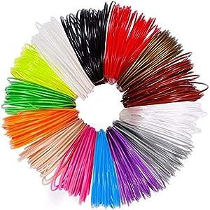 QUNNIE Ricariche per filamento PLA per penna 3D, 20 colori, 20 piedi per colore, filamento PLA per penna 3D / stampante 3D 1,75 mm, diametro ad alta precisione e ricarica sicura per bambini