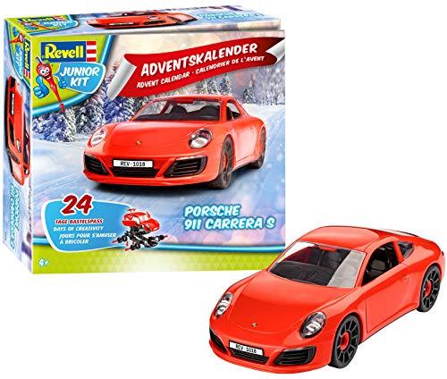 Revell Junior Kit 01018 - Adventskalender Porsche 911 Carrera S - 24 Tage cooler Bastelspaß, der Bausatz mit dem Schraubsystem für Kinder ab 4 Jahren, zum Bauen und Spielen