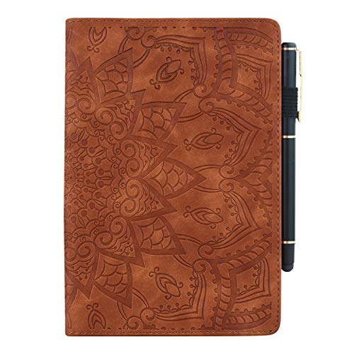 Succtop Galaxy Tab S6 Lite 10.4 Inch Case PU Leather Folio Flip Stand Function Cover Wallet Pen Holder Card Slot Tablet Case For Samsung Galaxy Tab 6 Lite 2020 SM-P610/SM-P615 Mandala Flower - Brown