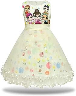 Girls Tutu Princess Dress Doll Digital Print Sleeveless Pageant Gown Dress for Doll Surprised