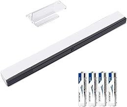 KIMILAR Inalámbrico Barra De Sensor Compatible con Nintendo Wii / Wii U Barra de Sensores de Infrarrojos con 4 * AAA Pilas y 1 Soporte Transparente, [Video Game] -Blanco [video game]