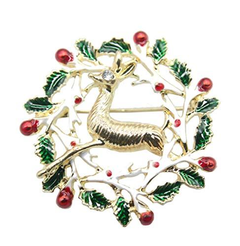 NA Couronne de Noël Elk Broche Pin, émail Glamaze Broche Broche Broches Broches Femmes Filles - Coffret Cadeau